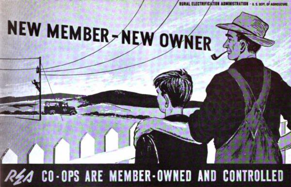 Depression-era REA image promoting electric co-ops and member ownership
