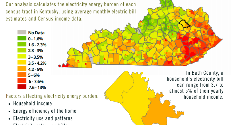 energy burden map of Bath county and Kentucky