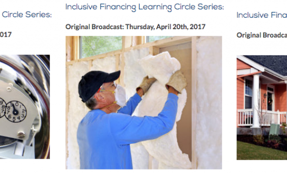 image of electric meter, insulation, and homes for Inclusive Financing webinar series