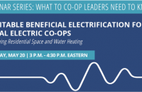 webinar title and date: equitable beneficial electrification for electric co-ops on May 20th at 3pm